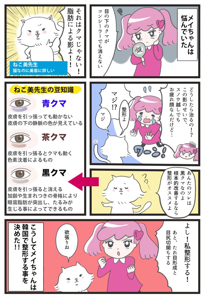 渡韓レポ漫画〜目の下の脂肪再配置・たれ目形成・目尻切開〜